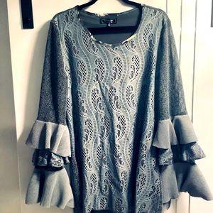 Plus Size XXL Minkas Grey Cut Lace lined Tunic